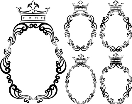 set of decorative frames with crowns