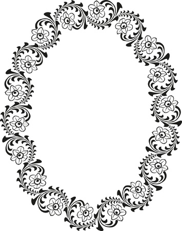 floral oval border Vector