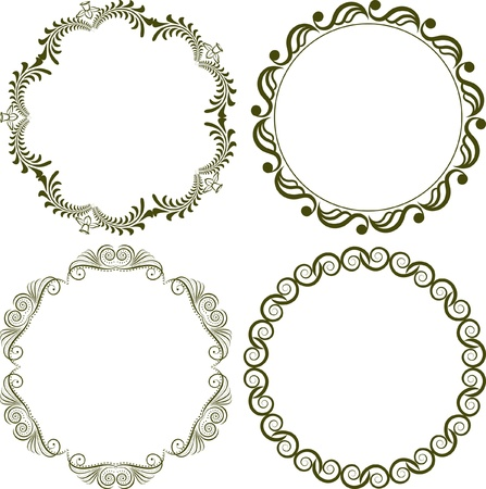 set of decorative round borders