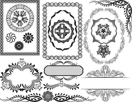 separator: set of decorative borders, frames and ornaments Illustration