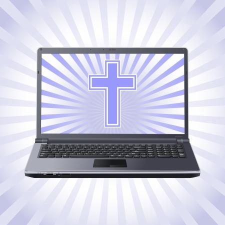 laptop screen: cross on the laptop screen Illustration