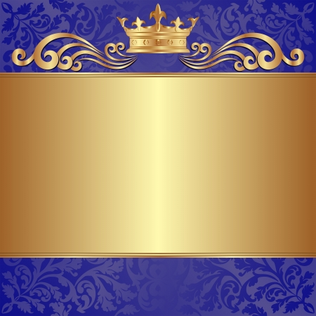 blue and gold background with crown and ornaments