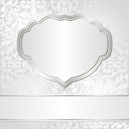 silver frame: bright background with ornaments Illustration