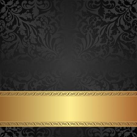 brushed gold: vintage background with ornaments Illustration
