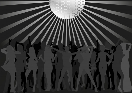 dancing people and disco ball Vector