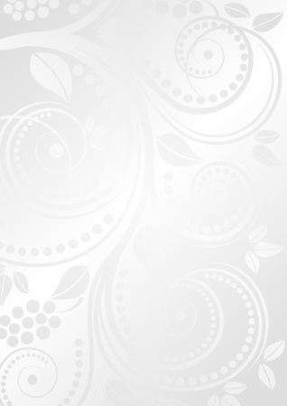 white glossy background with floral ornaments Vector