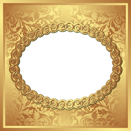 golden background with oval frame and transparent space insert for picture Vector