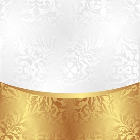 reflective background: white and gold background with ornaments Illustration