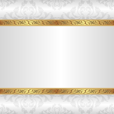 white background with golden ornaments Illustration