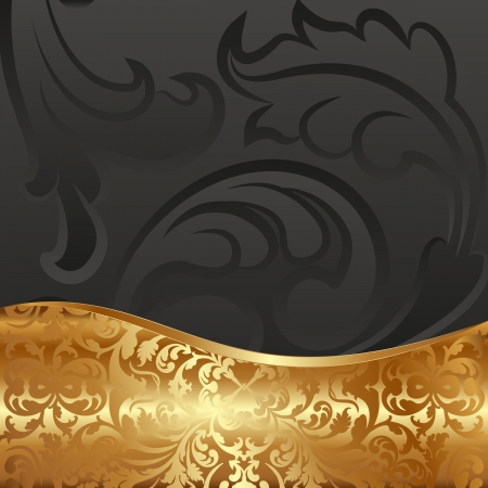 black background with golden ornaments Vector