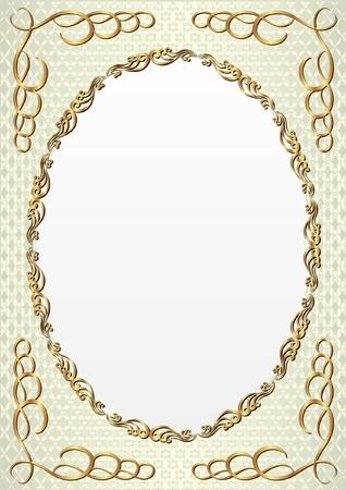 decorative background with golden oval frame Illustration