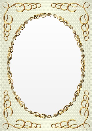 decorative background with golden oval frame Vectores