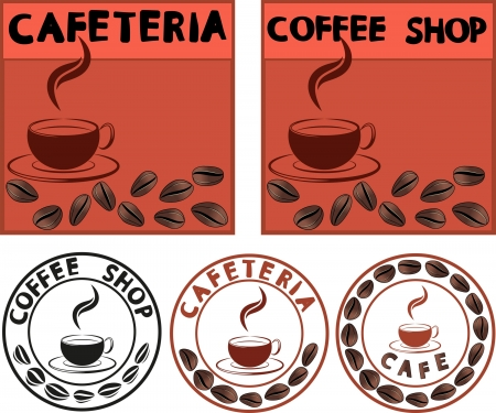 cafe advertising banner with cup and coffee beans Vector