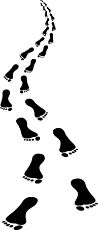 depart: approaching footsteps - clip art illustration