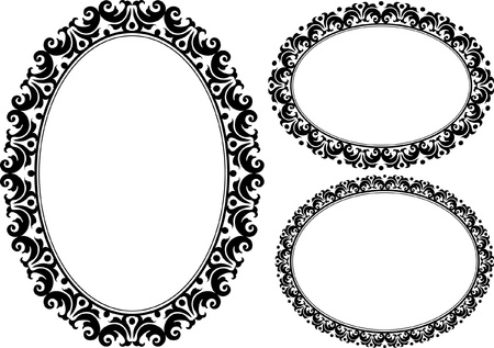 set of ornamental oval frames