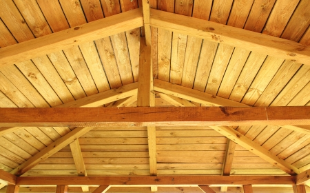 joist: Interior view of a wooden roof structure