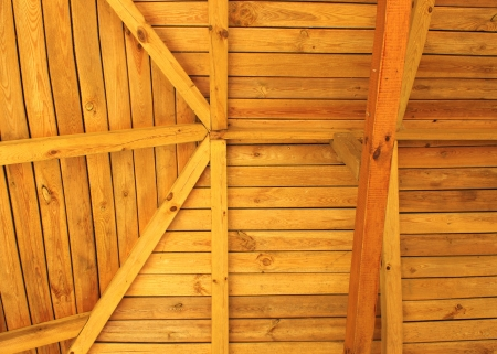 rafters: Interior view of a wooden roof structure
