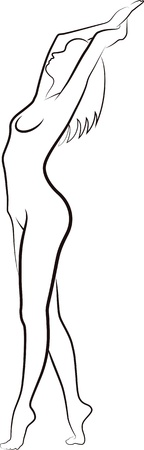 naked female body: sketch of woman