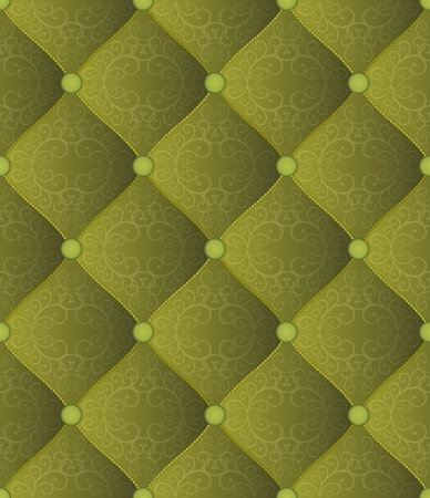 quilted fabric: quilted green background with ornaments Illustration