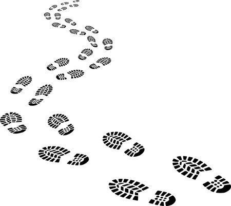receding footprints Vector