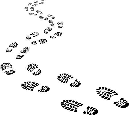 zurückweichenden Fußabdrücke