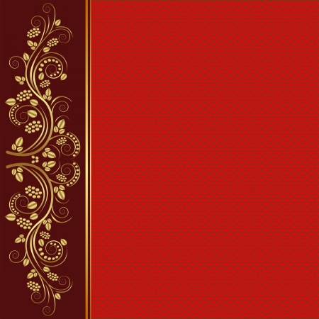 brushed gold: red background with golden ornaments