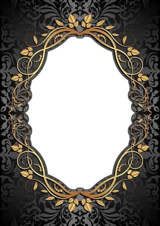 ゴールデン フレームと画像の透明な空間の挿入と黒の背景