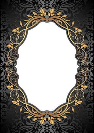 label frame: black background with golden frame and transparent space insert for picture