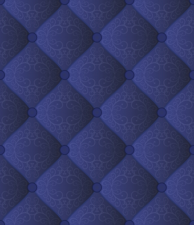 quilted blue fabric with ornaments - seamless