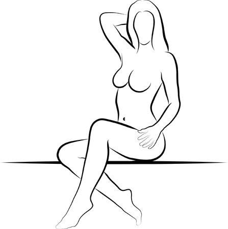 mujer desnuda sentada: Mujer sentada - ilustración