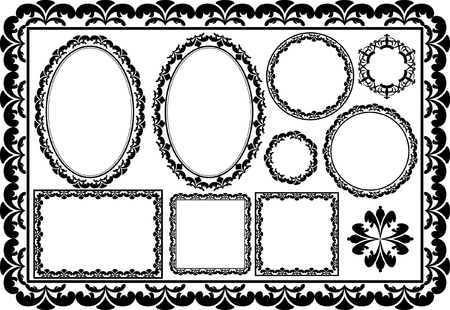 set of oval, round, rectangular and square frames Vector