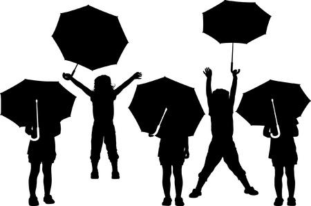 silhouette of child with umbrella Vector