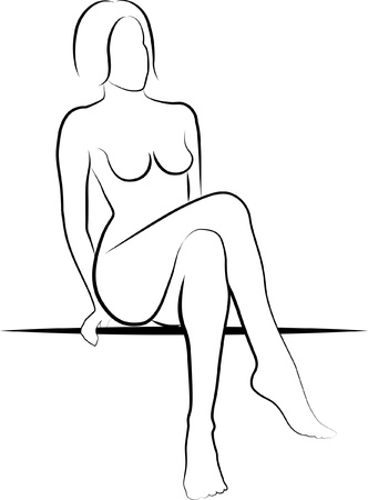 nude woman posing: nude woman sitting - illustration