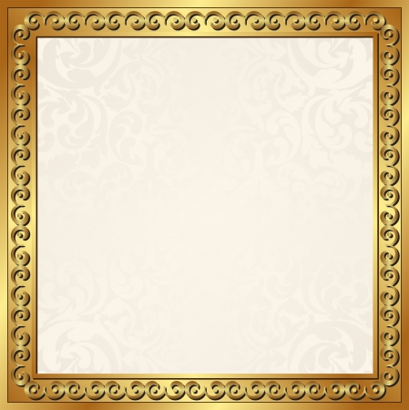 ecru background with golden frame Vector