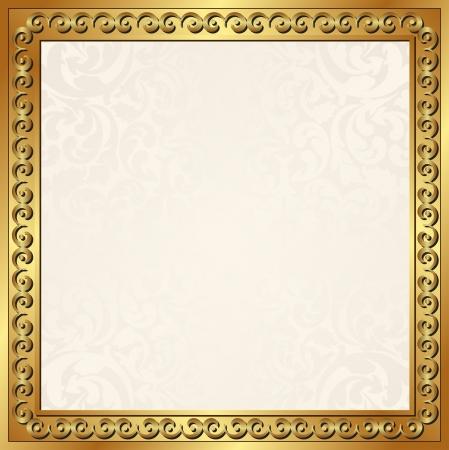 ecru: ecru background with golden frame