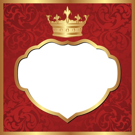 red background with crown - transparent space insert for picture Vector