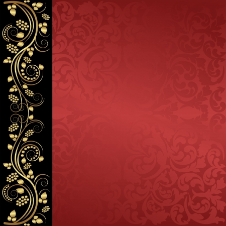 maroon: red background with floral ornaments