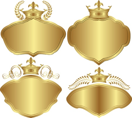 set of golden backgrounds with crowns Vector