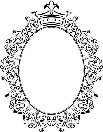 oval frame: decorative frame with crowns  Illustration
