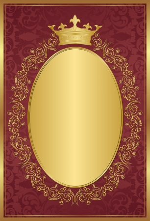 red background with decorative golden frame and crown