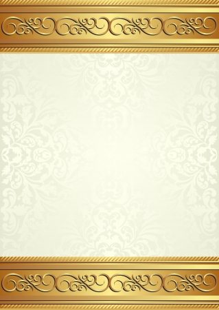 brass plate: beige background with gold ornaments Illustration