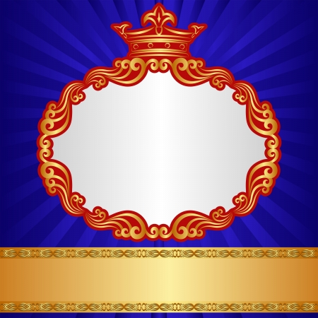 royal background with golden crown and ornaments Vector