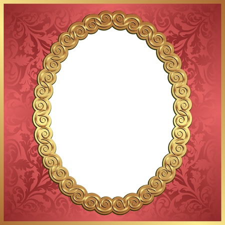 red background with gold oval frame and transparent space insert for picture Vector