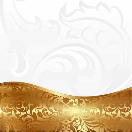 white background with golden ornaments Stock Vector - 21322430