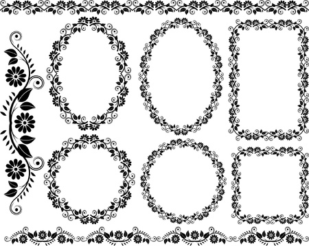 set of decorative floral frame - design elements Vector