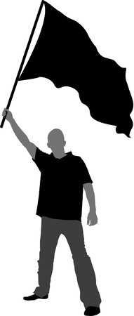 the proud: Man with flag silhouette