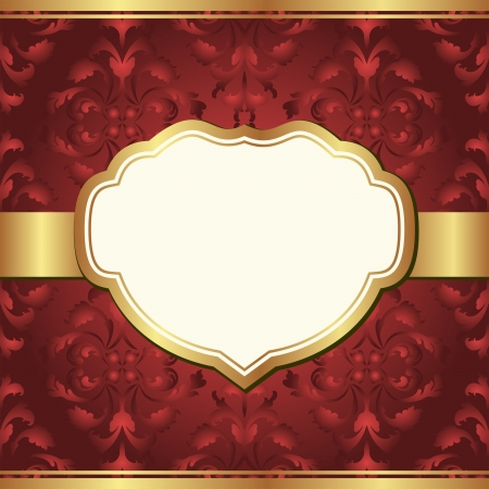 claret red: dark red  background with golden frame and baroque ornaments