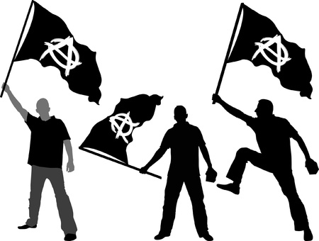 anarchy: man with waving flag of Anarchy