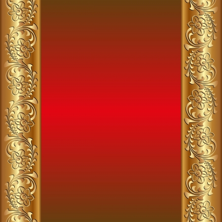 red background with golden ornaments Vector