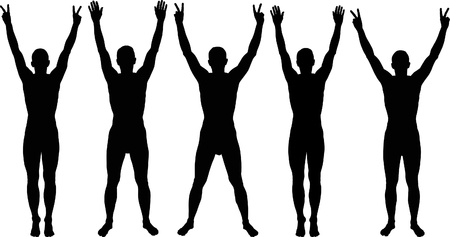 man with hands up silhouettes Vectores